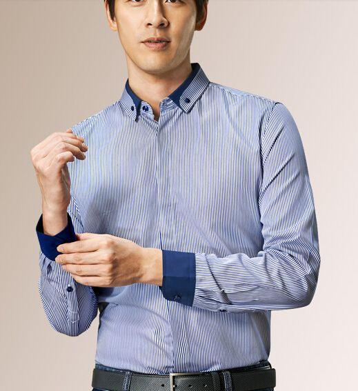 条纹撞色衬衫