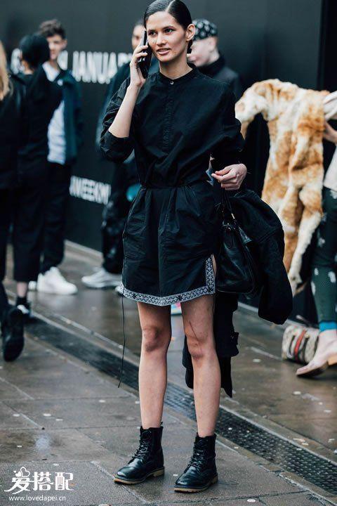 黑色连衣裙+骑士靴
